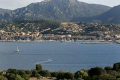 Propriano, побережье юго-западной Корсики, Франции Стоковое Фото