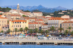 Propriano coastal cityscape, South Corsica. Propriano, France - July 3, 2015: Propriano coastal cityscape, South region of Corsica, France Stock Image