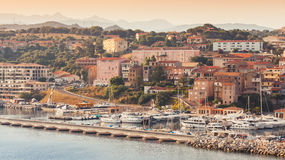 Propriano port at morning, Corsica, France. Propriano port at early morning in warm sunlight, South Corsica, France Royalty Free Stock Photos
