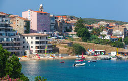 Propriano resort town, Corsica island, France. Propriano, France - July 4, 2015: Bay of Propriano resort town, South region of Corsica island, France. Pleasure Royalty Free Stock Image