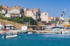 Propriano semesterortstad, södra region av Korsika Fotografering för Bildbyråer