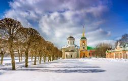 Propriedade de Kuskovo no inverno imagens de stock