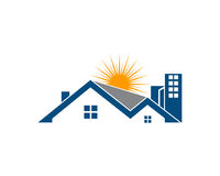 A propriedade de Real Estate e o logotipo da construção projetam para o sinal incorporado do negócio Fotografia de Stock