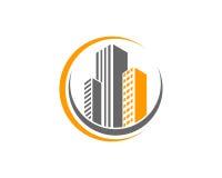 A propriedade de Real Estate e o logotipo da construção projetam para o sinal incorporado do negócio Imagens de Stock