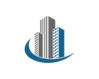 A propriedade de Real Estate e o logotipo da construção projetam para o sinal incorporado do negócio Fotografia de Stock Royalty Free