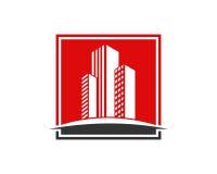 A propriedade de Real Estate e o logotipo da construção projetam para o sinal incorporado do negócio Foto de Stock Royalty Free