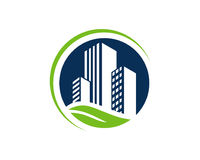 A propriedade de Real Estate e o logotipo da construção projetam para o sinal incorporado do negócio Imagens de Stock Royalty Free