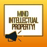 Propriedade intelectual da mente da escrita do texto da escrita O significado do conceito refere criações da mente tais como a in ilustração royalty free