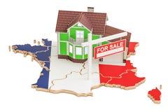 Propriedade para a venda e aluguel no conceito de França, rendição 3D Imagem de Stock Royalty Free