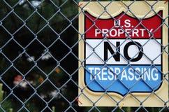 Proprietà degli Stati Uniti nessun violare Fotografie Stock