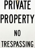 Proprietà privata nessun trasgredire Immagine Stock