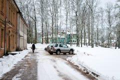 Proprietà terriera di Vecgulbene nell'inverno in Gulbene, Lettonia Fotografie Stock
