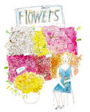 Proprietário de florista da empresa de pequeno porte na ilustração da aquarela da loja de flores no fundo branco Fotos de Stock Royalty Free