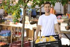 Proprietário empresarial pequeno que vende frutos orgânicos. fotografia de stock