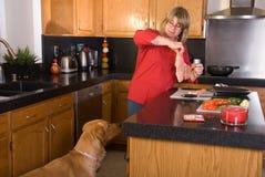 Proprietario di sorveglianza del cane cucinare. immagini stock libere da diritti