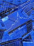 Proprietary trading desk. Blue colored trader screens (Bloomberg, Reuters) displaying financial information of equity markets, fixed income secirities, swaps and Royalty Free Stock Images