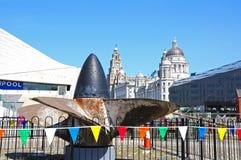 Propulseur de bateaux et les trois grâces, Liverpool Image stock