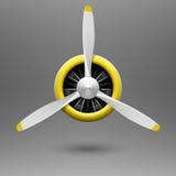 Propulsor de aeroplano del vintage con el motor radial ilustración del vector