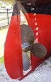 Propulsor y timón de la nave Foto de archivo