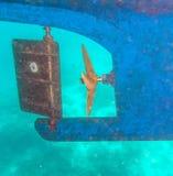 Propulsor y timón de tornillo de la nave Foto de archivo