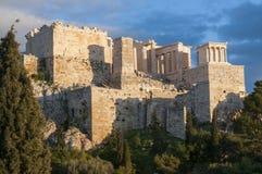 Propyla av akropolen Arkivfoto