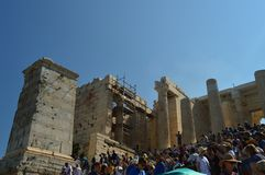 Propylaea της ακρόπολη της Αθήνας Αρχιτεκτονική, ιστορία, ταξίδι, τοπία στοκ φωτογραφία με δικαίωμα ελεύθερης χρήσης