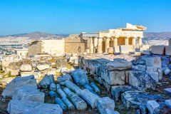 Propylaea, gateway to the Acropolis of Athens. stock photography