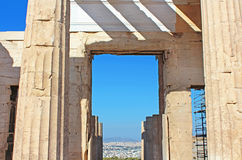 Propylaea is the monumental gateway to the Acropolis. The Propylaea was built under the general direction of the Athenian leader Pericles, Athens, Greece Stock Images