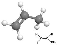 Propylene molecule with chemical formula Stock Photo