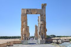 Propylon, Gate of all Nations, Achaemenid archaeological site of Stock Photos