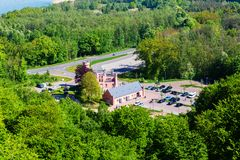 Forester`s house seen from the watch tower of the canopy pathway on Ruegen, Germany stock photography