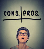 Pros and cons, for and against argument concept. Woma deciding Royalty Free Stock Images