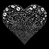 Pros And Cons Arguments Fireworks Heart. Pros And Cons Arguments fireworks with heart shape. Raster illustration style is flat white iconic symbols on a black Stock Photo