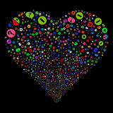 Pros And Cons Arguments Fireworks Heart. Pros And Cons Arguments fireworks with heart shape. Vector illustration style is flat bright multicolored iconic symbols Royalty Free Stock Image