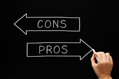 Pros Cons Arrows Blackboard. Hand sketching Pros Cons arrows concept with white chalk on a blackboard Stock Images