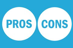 Pros and cons assessment analysis left right word text on white circle buttons in simple blue empty background stock illustration