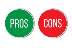 Pros and cons assessment analysis red left green right word text on buttons in empty white background. stock illustration