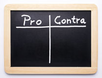 Pros and cons blackboard Royalty Free Stock Photography