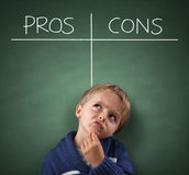 Pros and Cons on a blackboard Stock Image
