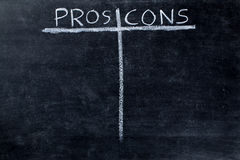 Pros and cons on blackboard Royalty Free Stock Photos