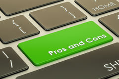 Pros and cons button on keyboard. 3D rendering Stock Images