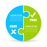 Pros and cons chart. Pros and cons jigsaw circle chart Stock Photography