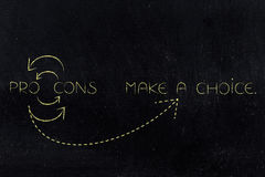 Pros and cons circle leading to make a choice Royalty Free Stock Photo