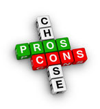 Pros and cons. Compare crossword puzzle Stock Images