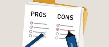 Pros cons concept on decision making process. Listing positive and negative for a solution or choice. research question Vector Illustration