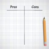 Pros and cons. Hand drawn pros and cons on copybook sheet Stock Images