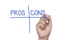 Pros and cons stock image