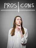 Pros and cons. Hesitation. Stock Image