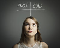 Pros and cons. Hesitation. Royalty Free Stock Photos