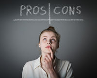 Pros and cons. Hesitation. Royalty Free Stock Photo